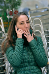 (Bob the Binman) Tags: italy girl mobile florence nikon phone cigarette smoking tuscany attractive firenze brunette smoker tobacco d90