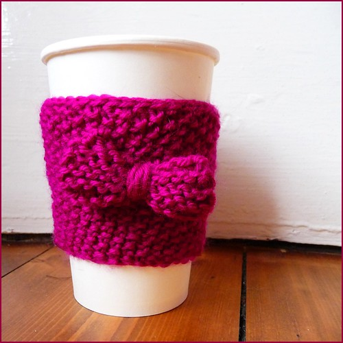 handknit coffee cup cosy