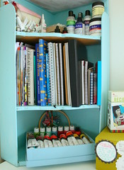 studio shelves (*Karen M Andersen* (Ruby and Violet)) Tags: blue red art cake ink hoop magazine notebook studio recipe book paint artist acrylic box embroidery teal glue journal ken fast books tags sketchbook velvet shelf workspace medium supplies done scallop bookcase elsie minibook floss atelier flannigan retarder