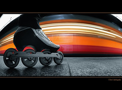 WaiTiNG  (Toni_V) Tags: longexposure red motion blur me colors station schweiz switzerland movement suisse zurich jet fisheye inline zrich inlineskating selective d300 colorkey bont szu selnau 10528 toniv dsc3504 platinumheartaward theperfectphotographer