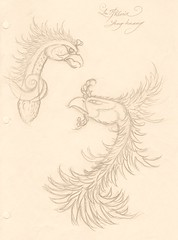 Pheonix (tarudesign) Tags: bird art japan pencil sketch drawing creature mythology pheonix