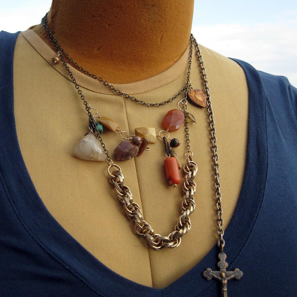Crucifix. Vintage chain assemblage.