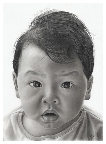 Theme: Drawing Pencil Portrait of a Child. Portraying A Small Child, a baby.