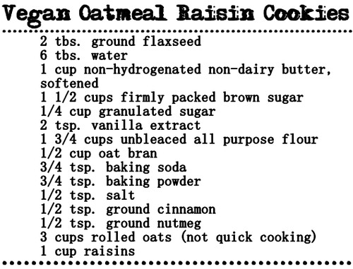 Vegan cookies recipe.