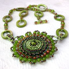 Limeonade Medallion Back (BeadsForever) Tags: necklace medallion lime etsy beaded beadwork beadweaving beadsforever