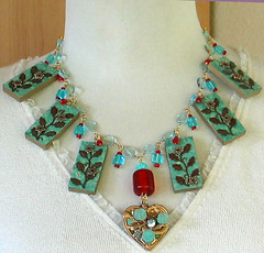 Recycled Domino Charm Necklace (perpetualplum) Tags: wood blue red metal altered vintage gold necklace beads crystal handmade turquoise earring jewelry charm chain swarovski domino recycle alter findings repurpose wirewrapped wirewrap