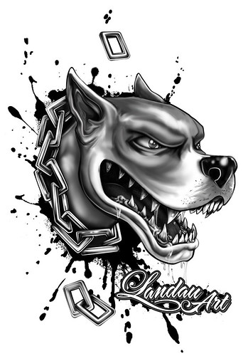 tattoo designs. Pitbull 6-17, originally uploaded by LandauArtwerx.com.