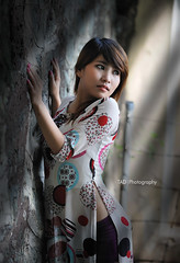 M001 (TA.D) Tags: red portrait girl beautiful face nikon dress vietnam dai tad ao hcm saigon hochiminhcity oldbuilding chandung aplusphoto d700 aodaivietnam
