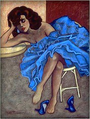 Woman in the Blue Dress (Tina's Art) Tags: blue music women dancers dancing parties nightclubs dancemusic blueshoes partygirl danceshoes bluedress womenartists pastelart womeninart newyorkartist texasartist tinasart womeninpaintings tinanationsrosenbaum rosetreearts