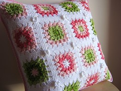summer pillow (a n a ) Tags: pink summer white green crochet pillow crocheted cushion