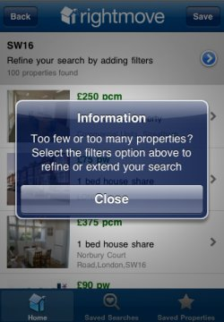 Rightmove app filters