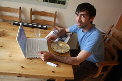Dan Meth tries Porridge for the first time...in my house :o) blended with local honey and fresh banana on top... (Irish Wonderboy) Tags: newyork illustration leeds cartoons nti oldbroadcastinghouse danmeth