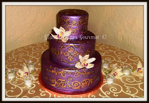 Roshini in purple and gold To match the Indian motif and color scheme of