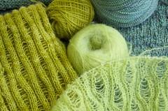 It's not easy being green (alicethelma) Tags: green scarf knitting lace knit handknit wip merino cotton dropstitch brioche crystalpalace blend malabrigo artfibers kidmerino