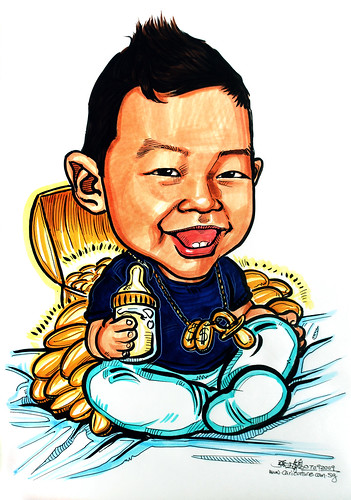 Caricature of a rich baby