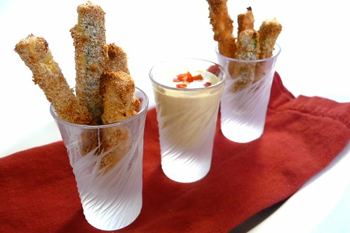 Baked Zucchini Fries with Feta & Roasted Red Pepper Dipping Sauce ...