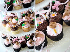 Pink & brown birthday tier