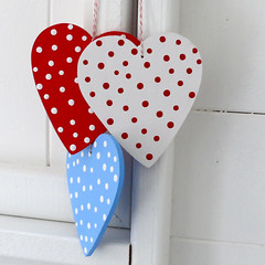 Christmas Heart Decorations (The Bunny Maker) Tags: christmas star wooden handmade decoration spotty