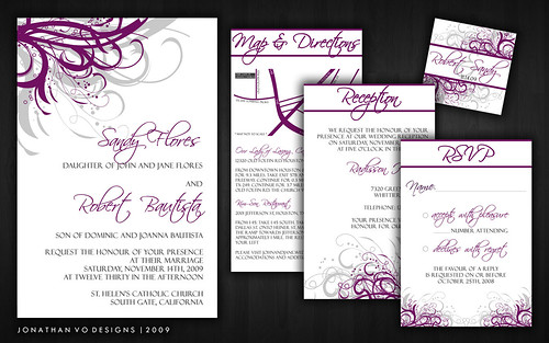Purple and Silver Gray Wedding Invitations