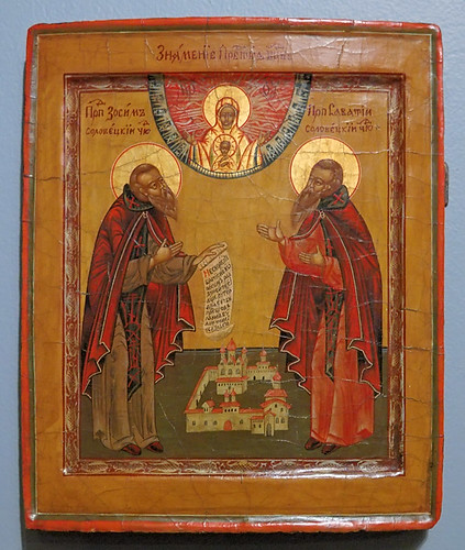 Russian Icon, at the Saint Louis University Museum of Art, in Saint Louis, Missouri, USA - Saints Zosim and Savvatti