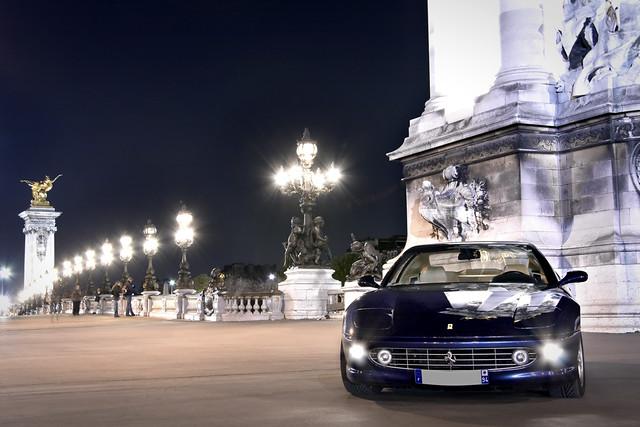 street bridge blue paris france car leather night cream ferrari m pont gt tourdefrance supercar 456 alexandreiii