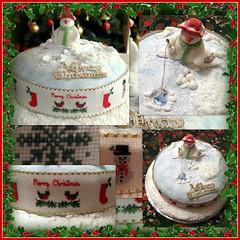 Snowman Fishing (konnykards) Tags: christmas cake snowman crossstitch handmade mosaic picasa picnik christmascake