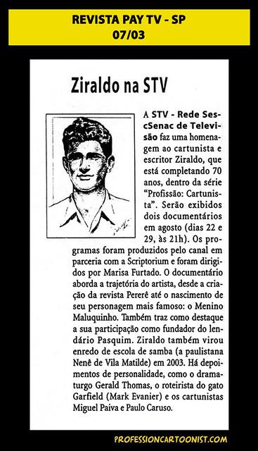 """Ziraldo na STV"" - Revista Pay TV - julho/2003"