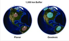 Understanding Geodesic Buffering (flyingcactus) Tags: 3d globe squares spatial statistics least regression ordinary ols gwr weighted arcgis geographically