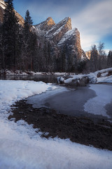 Breath of Air (sharpedit) Tags: breath air three brothers yosemite national park california nps landscape s curve merced river morning light sunrise glow ourdoor tree snow winter cold blue orange