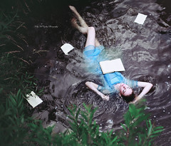 Story Lake II (Kelly McCarthy Photography) Tags: woman model beautiful beauty fashion style vintage retro book story fairytale blue bluedress lake river water outdoors catchycolorsblue catchycolorsgreen pages conceptual makeup