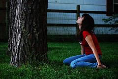 When Were Apart Whatever Are You Thinking Of? (raychel sonveeco.) Tags: tree girl grass outside teenager redshirt 55200mm nikond60