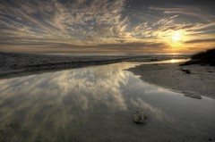 Reflections at sunset (John_Wilkinson) Tags: sunset sea beach clouds reflections capetown bloubergstrand eerstesteen johnwilkie