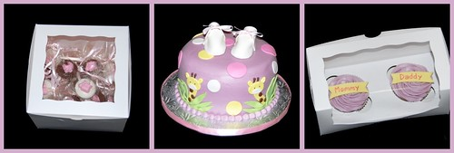 Purple, pink, and yellow giraffe themed baby shower cake