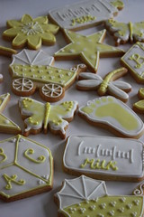 Baby Shower Favour Cookies (ConsumedbyCake) Tags: baby white flower cakes cookies yellow glitter daisies butterfly shower star sussex cupcakes worthing lemon cookie hand heart teddy dragonfly almond royal icing vanilla block footprint pram onesie rattle decorated favours consumedbycake