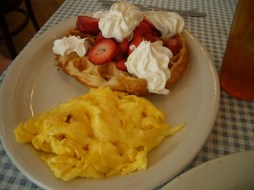 Blue Plate strawberry waffle and eggs