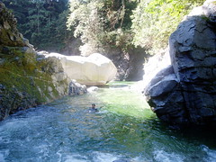 Norrish Canyon Fall 08 (Dru!) Tags: light shadow canada water pool creek forest swimming scott stream bc britishcolumbia canyon boulders mission wetsuit weston bedrock fraservalley hatzic norrishcreek