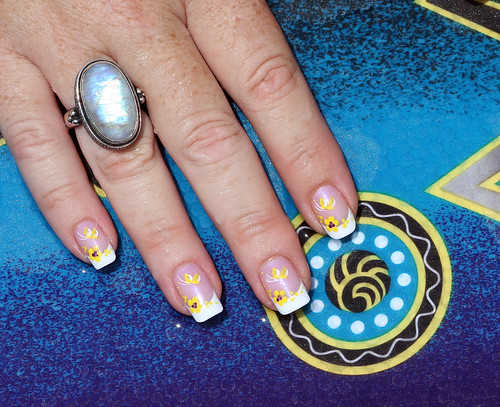 French Manicure With Yellow Tropical Flowers And Butterflies! Close Up!