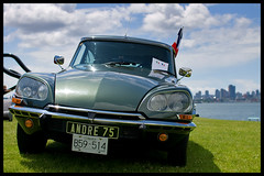 Citroen DS (Eric Flexyourhead) Tags: sky canada car skyline clouds french bc britishcolumbia citroen ds burrardinlet northvancouver 2009 waterfrontpark portofvancouver sigmaaf30mmf14exdchsm italianfrenchcarbikefestival olympuse3
