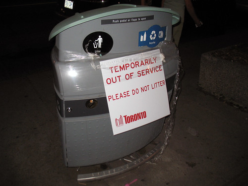2009 Toronto Municipal Strike (4) - Plastic Wrap and New School Garbage Cans Don't Mix