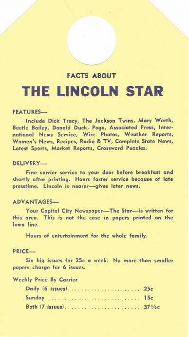 Door Hanger (Back Side) for Paper Boys Who Delivered Lincoln Star (Lincoln, Nebraska)