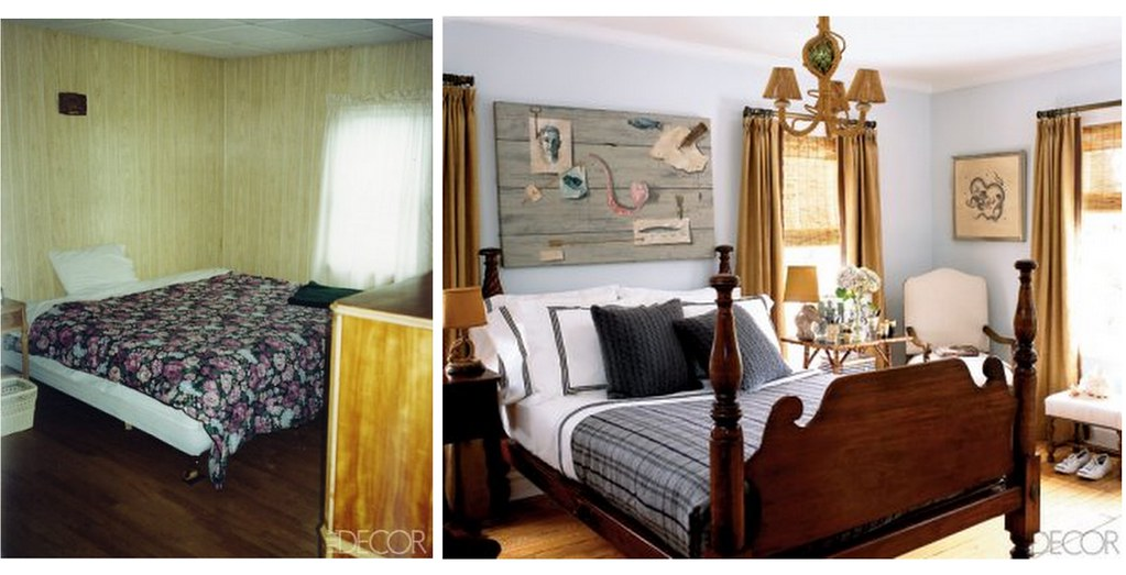 Bedroom makeover: Blue + brown Hamptons style, from Elle Decor