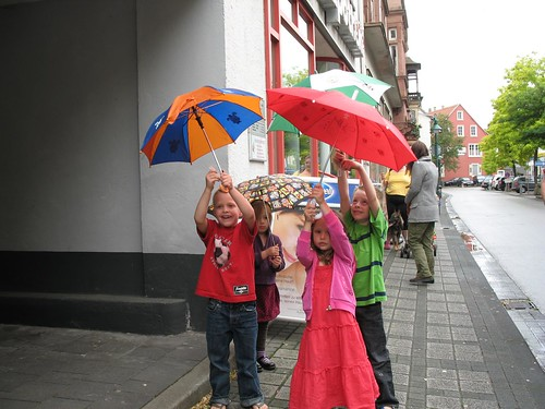 Umbrella walk around town