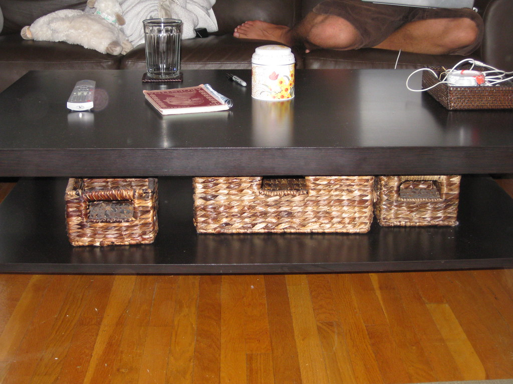 coffee table with basket storage. Black Bedroom Furniture Sets. Home Design Ideas