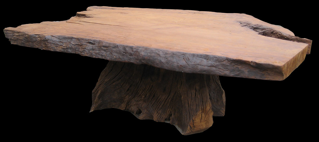 Gigantic East Indian Walnut (Taukkyan) Live-edge Tree Trunk Conference Table