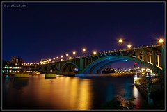 Central Ave bridge (Sri Dhanush) Tags: nightphotography bridge usa water minnesota nikon downtown nightlights minneapolis explore mississippiriver nights twincities mn longexposures downtownminneapolis nicolletisland centralavebridge nightexposures smoothwater saintanthonyfalls nikond40
