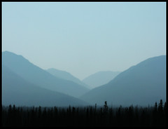 Smoky Mountains (Northwest haidaan) Tags: blue mountains grey yukon valley smoky 2009 wildfire lagoons burwashlanding
