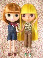 Fafa & Coco wearing new clothes