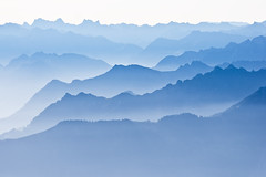 Blue mountains (Thierry Hennet) Tags: morning blue light white mist mountain alps nature fog landscape switzerland sony appenzell saentis a700 bratanesque sony70300g