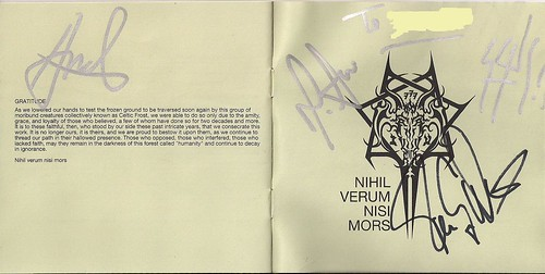09/24/06 Celtic Frost @ Minneapolis, MN (Autographed Monotheist CD Booklet)