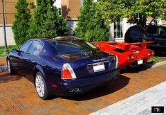 Maserati Quattroporte & Lamborghini Countach 5000QV (TYI Photos) Tags: blue columbus ohio red usa classic sports car sedan hotel town us italian european engine hilton fast center icon f1 ferrari exotic 80s dual 5000 saloon lamborghini luxury rare coupe supercar fastest v8 maserati sporty easton countach combo maser v12 lambo quattroporte qv 5000qv 4porte quattrovalve